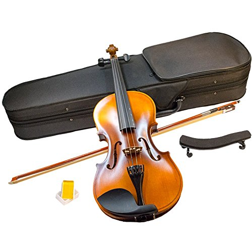 YMS SD-150 4/4 Full Size Student Violin Hand Carved Flamed Maple Back Starter Kit Outfit w/ Case Bow Rosin & Shoulder Rest by TukTek ()