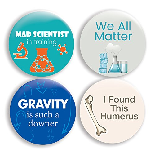 - Funny Science Pinback Buttons (2.25 inches) - Set of 4