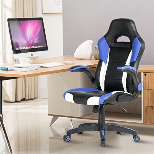 YAMASORO Computer Gaming Chair PU Leather Executive Chair Adjustable Swivel  Racing Chair High Back Ergonomic Desk