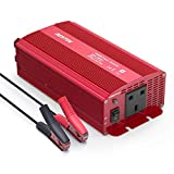 BESTEK 1000W Power Inverter DC 12V to AC Outlet 230V 240V Voltage Converter with Cigarette Lighter Adapter in Car and Crocodile Clip for Battery