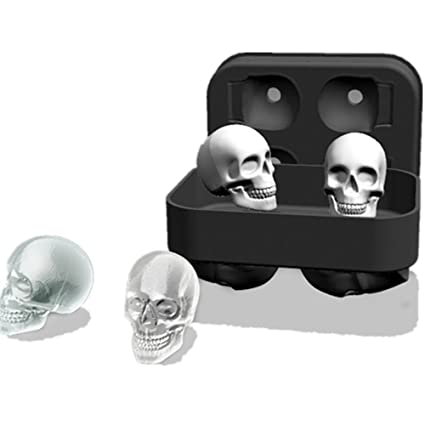 Skull Ice Cube Tray 3 Set Silicone Mold Cocktails Whisky Halloween Party