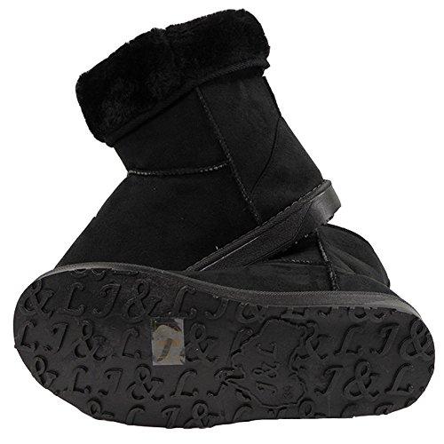 Womens Ladies Flat Fur Lining Bow Winter Warm Low Heel Ankle Boots Shoes Size 3-8 Black Plain us9b9e