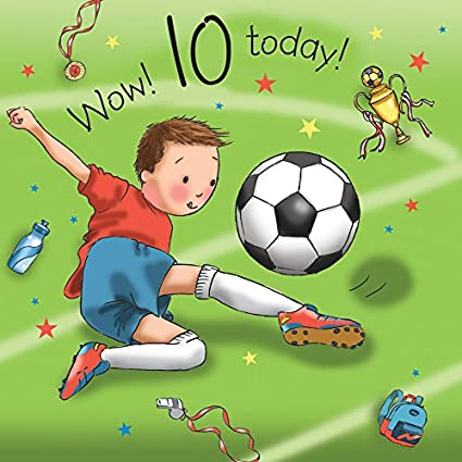 Twizler 10th Tarjeta de cumpleaños para Boy con futbolista ...