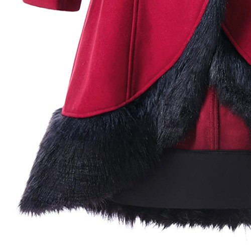 de Chaqueta cuello piel capucha grande Vino tirantes lana Outwear de Abrigo Abrigo Largo de de rojo mujer Parka largo delgada de de Internert gruesa con abrigo costura Abrigo Chaqueta Invierno 8dnOdP0