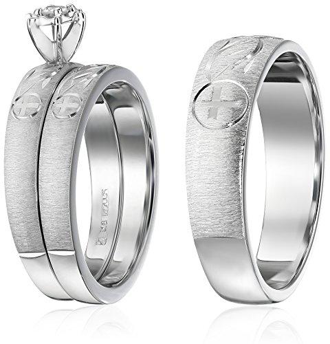 Amazon Sterling Silver Diamond Trio Wedding Ring Set Jewelry