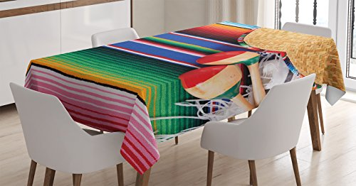 Ambesonne Mexican Decorations Tablecloth by, Mexican Artwork with Sombrero Straw Hat Maracas Serape Blanket Rug, Dining Room Kitchen Rectangular Table Cover, 52 X 70 -