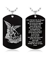 FAYERXL St. Saint Michael Archangel Stainless Steel Dog Tag Pendant Necklace Christian Faith Jewelry