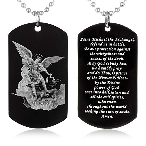 - FAYERXL St Michael The Archangel Latin Prayer Dog Tag Necklace Military Pendant Christian Faith Jewelry (Saint Michael Archangel)