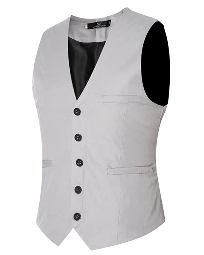 Hombre Plain Waistcoat Chaleco Traje Blazers Sin Mangas De Boda Casual Slim Fit eAKkq7ss