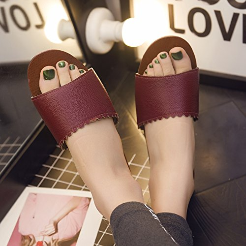Thick Soft Room Summer Floors Slippers Couples Home Stay Female 38 Wooden A Slip fankou Red Slippers 37 Cool Current Non xCtY4pxq