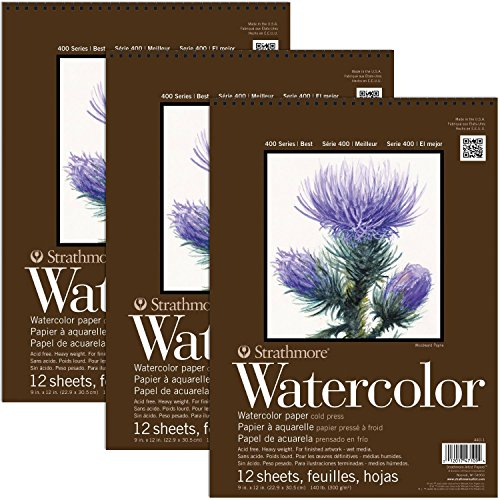 Strathmore 400 Series Watercolor Pads 9 x 12 Inch 12 Sheets Per Pad (3-Pads) ()