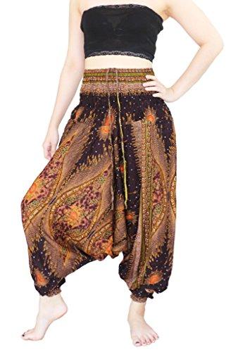 Yaowaluck Pantaloni da donna plissettati stile Aladino, modello 2in 1, pantaloni harem tuta Peacock Brown
