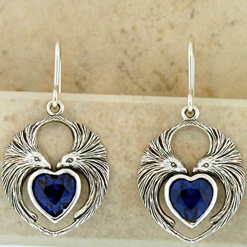 Lovebird Earrings Heart Shaped 925 Sterling Silver SYN. Sapphire KN-297