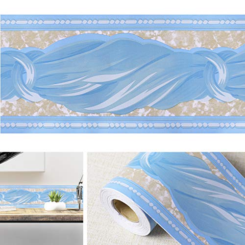 Livelynine Peel and Stick Blue Border Bow-Knot Wall Border Decorative Film Kids Wall Decals Self Adhesive Wallpaper Borders for Bathroom Decor Window Decals 4inx32.8ft