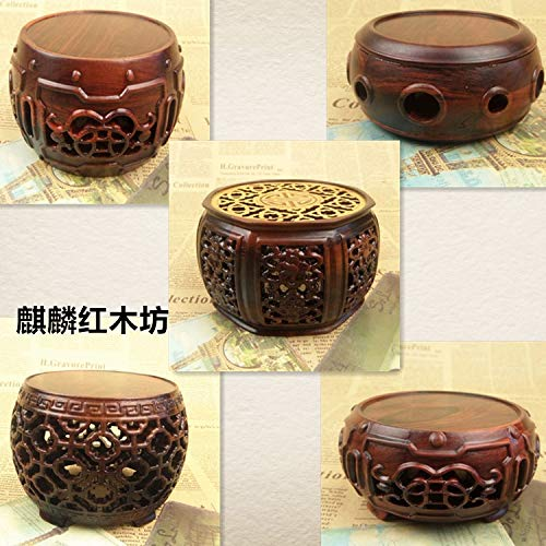 ZAMTAC Kylin Rosewood Crafts Jade vase of Flowers Bonsai Stone Head Round Base 2015 of The QIXI Festival Rosewood