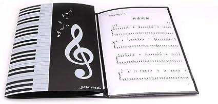 Carpeta de notas de música de piano, carpeta de partituras de música A4, carpeta de 6 páginas expandidas, carpeta de papel plegable para documentos y ...