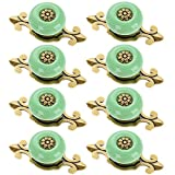 Corasays 2 IN 1 Vintage Ceramic Drawer Cabinet Knobs and Pulls for DIY Home Furniture Cabinet Dresser Cupboard Bin Door Handles, Pack of 8 (Green-Bronze)