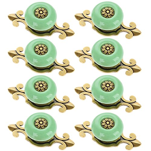 Corasays 2 IN 1 Vintage Ceramic Drawer Cabinet Knobs and Pulls for DIY Home Furniture Cabinet Dresser Cupboard Bin Door Handles, Pack of 8 (Green-Bronze) by Corasays