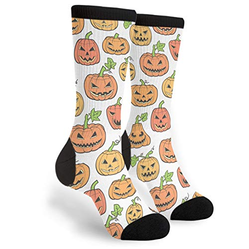 NGFF Halloween Scary Pumpkin Men Women Casual Crazy Funny Athletic Fancy Novelty Graphic Crew Tube Socks Moisture Wicking Gift -