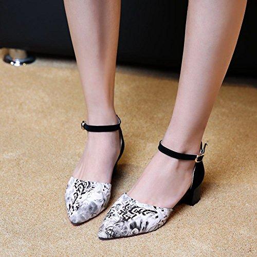 Charm Foot New Fashion Womens Chunky Heel Mary Jane Pumps Shoes Blue Ck39k24Zv