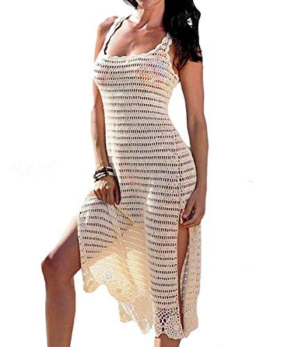 Bestyou Bestyou Women's sSide Split Crochet Swimsuit Cover up Tunic Beach Dresses (Beige) -