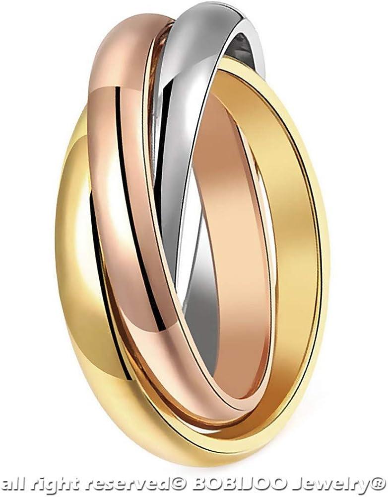 BOBIJOO Jewelry Bague Femme 3 Anneaux Entrelac/és Acier Plaqu/é Or Argent Rose Mariage Alliance