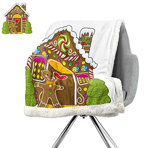 ScottDecor Gingerbread Man Lightweight Blanket,Cute Gingerbread House Decorated with Colorful Candies Man Graphic Figure,Multicolor,Flannel Throw Blanket Lightweight Soft Warm Blanket W59xL78.7 Inch