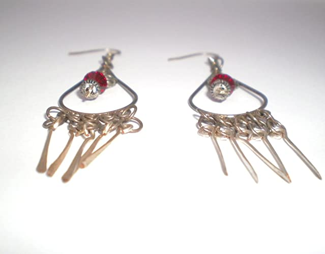 Amazon butterfly and red crystal chandelier earrings handmade butterfly and red crystal chandelier earrings aloadofball Image collections