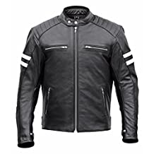 Men Classic Leather Motorcycle Jacket with Lifetime Leather Warranty MBJ032 (4XL)