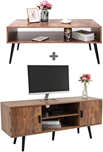 IWELL Mid-Century Coffee Table with Shelf, TV Stand with Large Cabinet, TV Console Table, Sofa Table, Office Table, Retro Home Media Entertainment Center for Flat Screen TV Cable Box Gaming