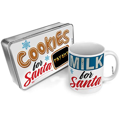 NEONBLOND Cookies and Milk for Santa Set Royalty Printed Gold looking Lettering Christmas Mug Plate Box (Cake Plate Royalty)
