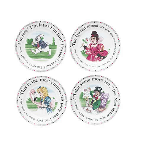 Cardew Design Alice in Wonderland Porcelain Dessert Plates, 7.5-Inch, Set of 4