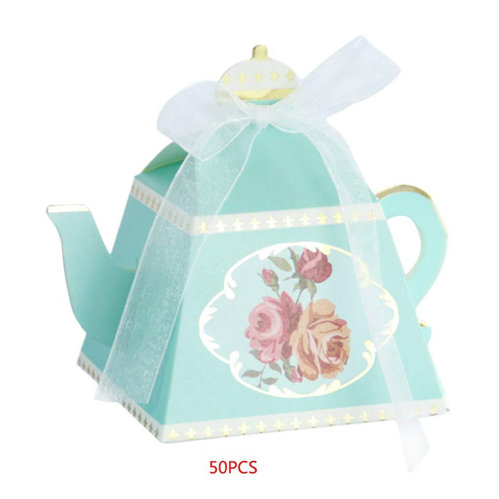 Windy5 50pcs Teapot bronzante de soir/ée de Mariage Favor Sac Bonbons Chocolat Coffrets Cadeaux Nuptiale Anniversaire Douche