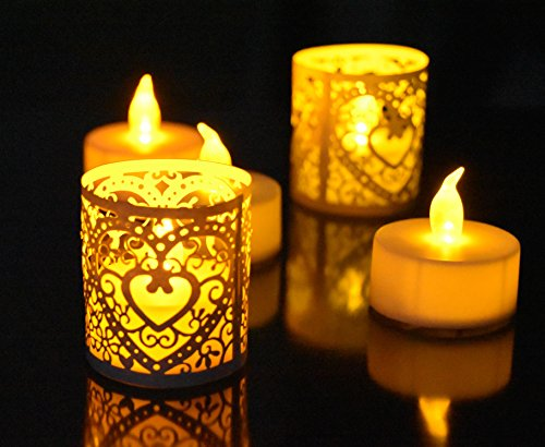 Votive Candle Wraps - Lovefish 24pcs Tea Lights + 24pcs Champagne wrap Paper,Cut Decorative Wraps for 24 Pack Flickering LED Battery Tealight Candles