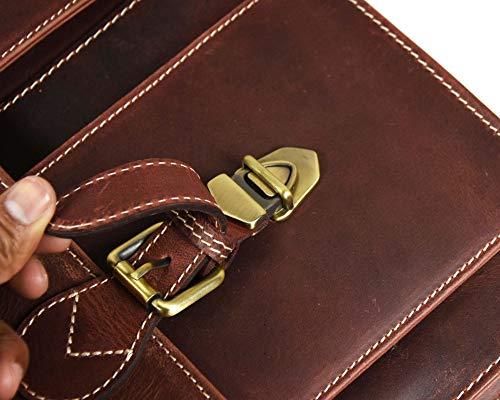 16'' Leather Briefcase Messenger Bag for Laptop by Aaron Leather (Walnut) by AARON LEATHER GOODS VENDIMIA ESTILO (Image #6)