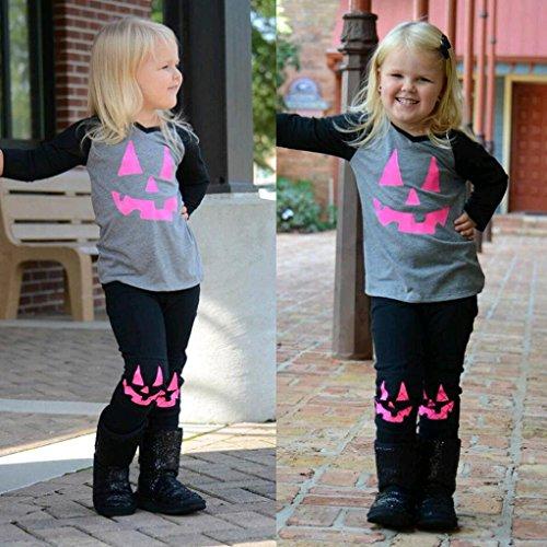 Omiky® Kleinkind-Säuglingsbaby-Kürbis-Flecken-T-Shirt Tops + Hosen-Halloween-Ausstattungs-Set Grau