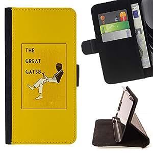 For Sony Xperia Z3 Compact / Z3 Mini (Not Z3) Case , El gran Gatsby Libro Amarillo Cubierta Leer- la tarjeta de Crédito Slots PU Funda de cuero Monedero caso cubierta de piel