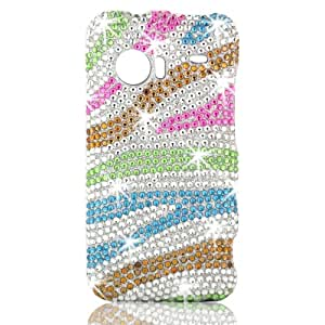 Talon Full Diamond Bling Phone Shell for HTC DROID Incredible - Rainbow Zebra