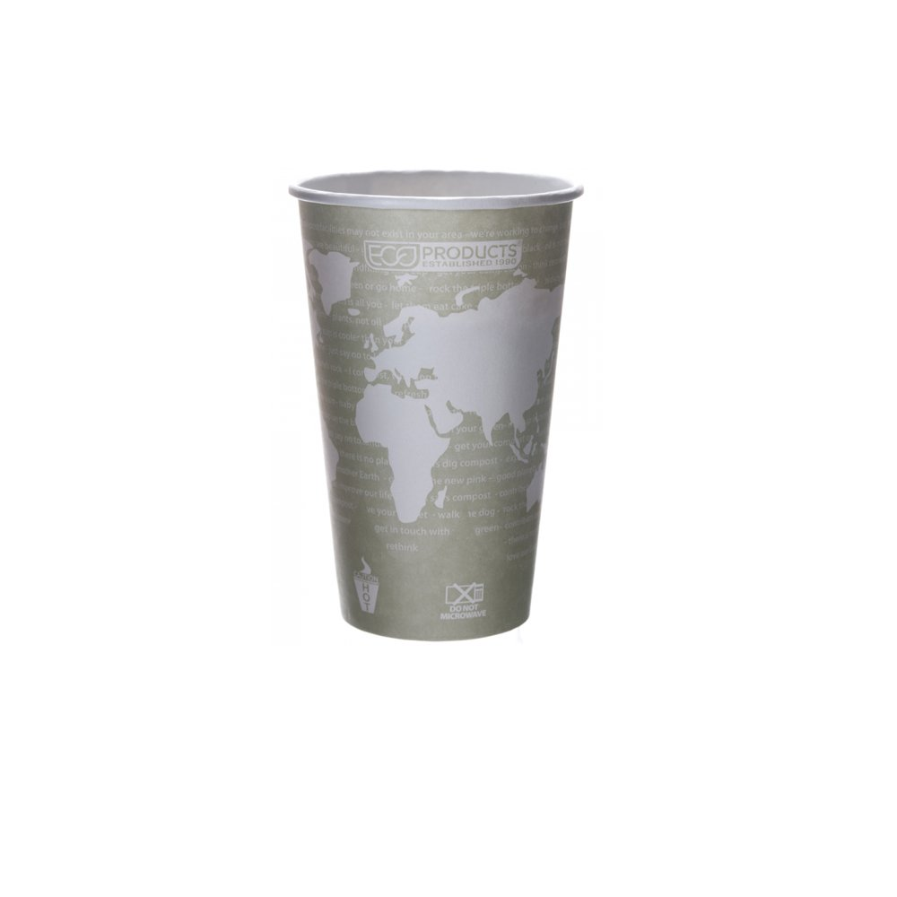 Eco-Products - World Art Renewable Compostable Hot Cups, 16 oz, Case of 1000, EP-BHC16-WA