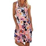 TWGONE Sleeveless Dresses For Women Short Sundress Knee Length Scoop Neck Mini Tank Beach Dress (X-Large,Pink)