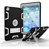 iPad Pro 9.7 Shockproof Case, Rubberized Armor Military Protection Shockproof Shell With Stand For iPad Pro 9.7 & iPad Air 2 - DUAL COLOR (BLACK/GREY)