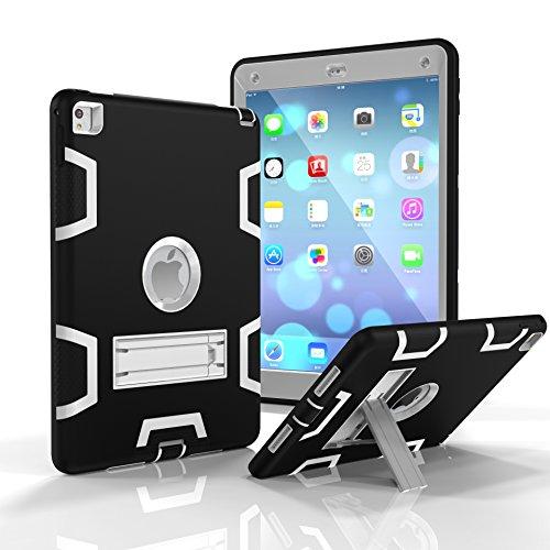 iPad Air 2 Case,iPad 6 Case, Dooge Three Layers PC&Silicon Armor Defender Heavy Duty Shock-Absorption Rugged Hybrid Full Body Protective Case with Kickstand for Apple iPad Air 2/ iPad 6 (2014 Model) (Moshi Ipad Air 2)