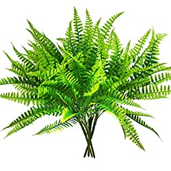 Artificial Boston Fern Bush Plant Shrubs Greenery Bushes for Indoor Outside Home Garden Office Verandah Wedding Decor- 4 Bunches