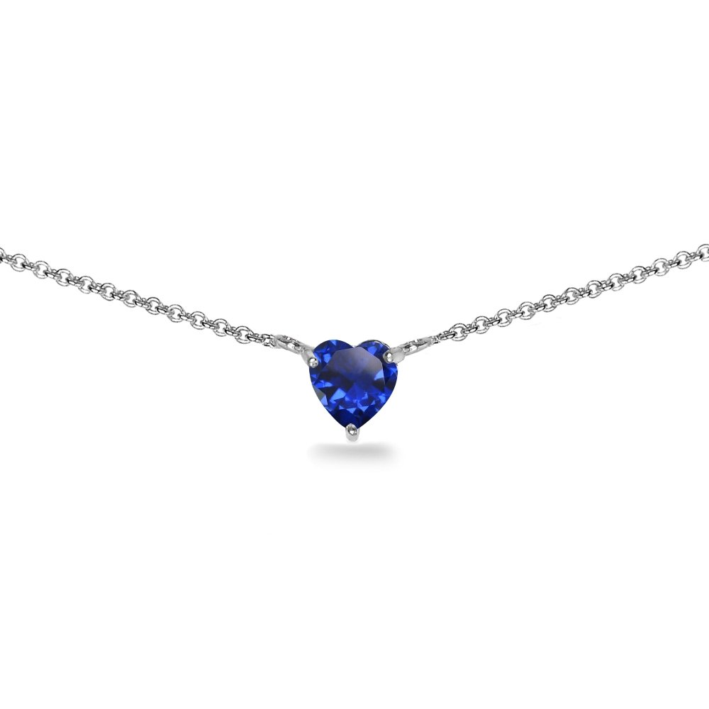 Sterling Silver Created Blue Sapphire 7x7mm Heart Shaped Dainty Choker Necklace by GemStar USA (Image #1)