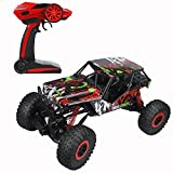 CR 1/10 Scale Oversize 2.4Ghz RC Rock Crawler Monster Vehicle Truck 4WD Radio Control Buggy Hobby Car RTR with LED Lights(Red)