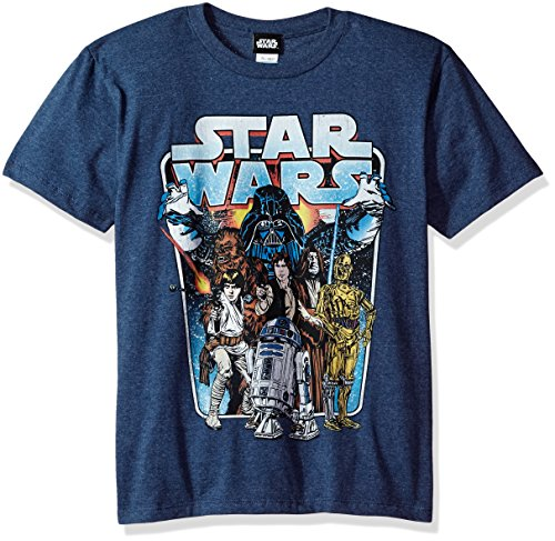 Price comparison product image Star Wars Big Boys' Classic Battle Logo Graphic Tee, Navy Heather, YM