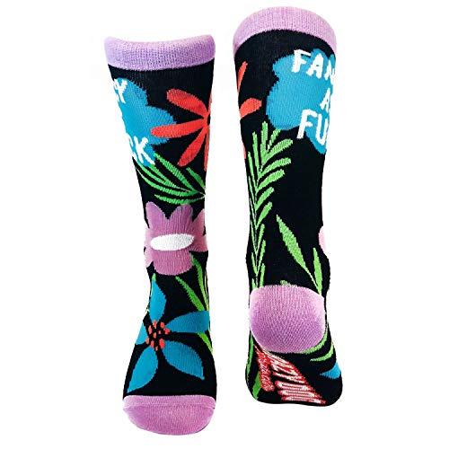 Fancy As Fuck Socks Funny Floral Flower Casual Footwear (Black) - Womens (5-10) -