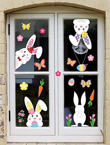 jollylife 71PCS Easter Bunny Window Cling Decorations - Egg Hunt Games Decals Home Party Ornaments