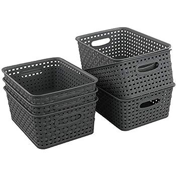 Ramddy Plastic Basket for Organizing Set of 6 10.03 x 7.67 x 4.05