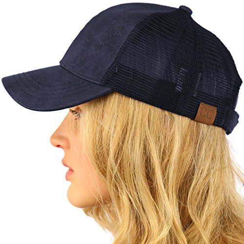 CC Everyday Mesh Trucker Faux Leather Plain Blank Baseball Cap Hat Solid Navy (Navy Blue Campus Hat)